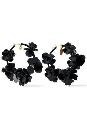 OSCAR DE LA RENTA Gold-tone, resin and cord hoop earrings