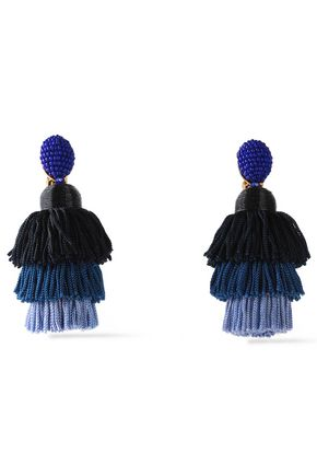 OSCAR DE LA RENTA Gold-tone, bead and tassel clip earrings