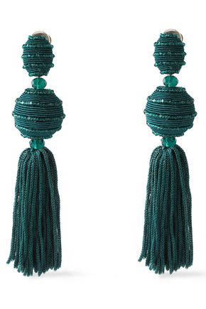 OSCAR DE LA RENTA Tasseled gold-tone, cord and bead clip earrings