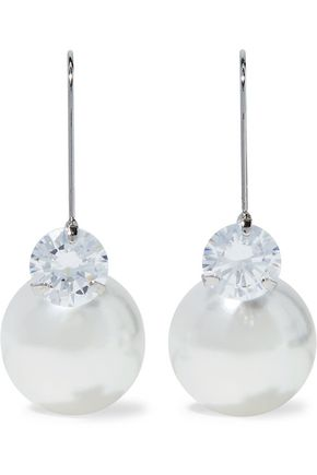 KENNETH JAY LANE Silver-tone faux pearl and crystal earrings