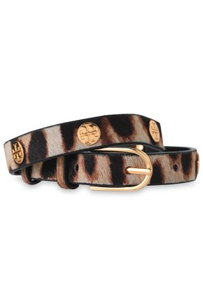 TORY BURCH Gold-tone and leopard-print calf hair wrap bracelet