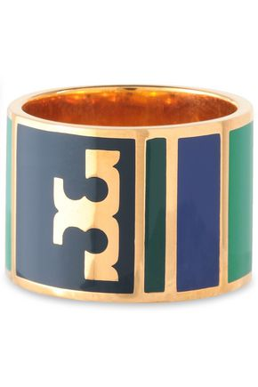 TORY BURCH Gold-tone enamel ring