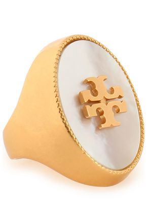 Gold-tone Mother-of-Pearl ring