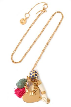 TORY BURCH Gold-tone, moonstone, enamel and tassel necklace