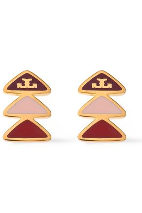 TORY BURCH Gold-tone enamel earrings
