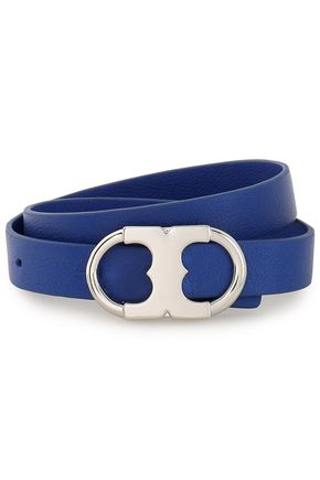 TORY BURCH Silver-tone and leather wrap bracelet