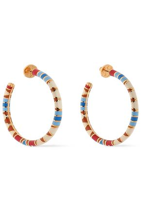 Gold-tone enamel hoop earrings