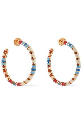 Gold-tone enamel hoop earrings