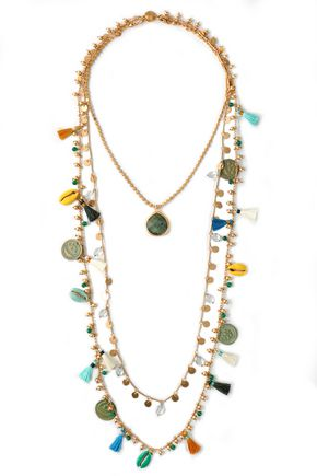 TORY BURCH Gold-tone, shell, bead and tassel necklace