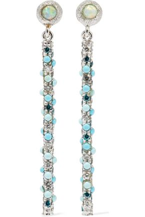 CAROLINA BUCCI Magic Wand 18-karat white gold, diamond, opal and turquoise earrings
