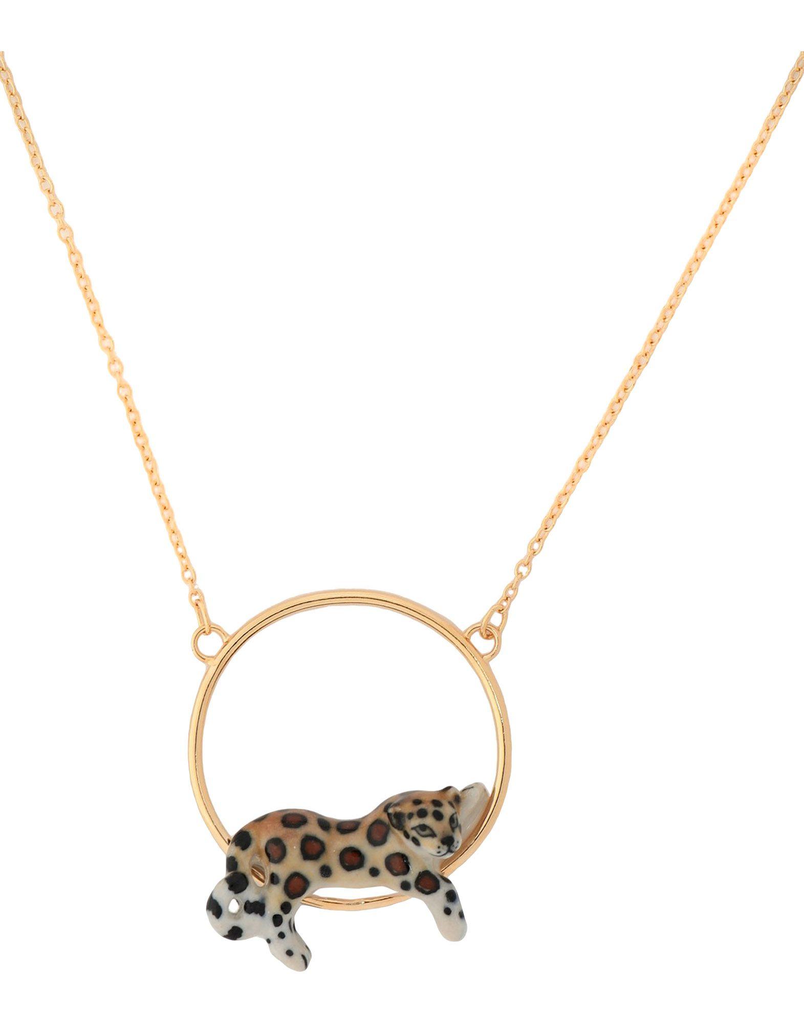 《セール開催中》NACH レディース ネックレス ゴールド セラミック 70% / 真鍮/ブラス 30% Lying Leopard mini necklace