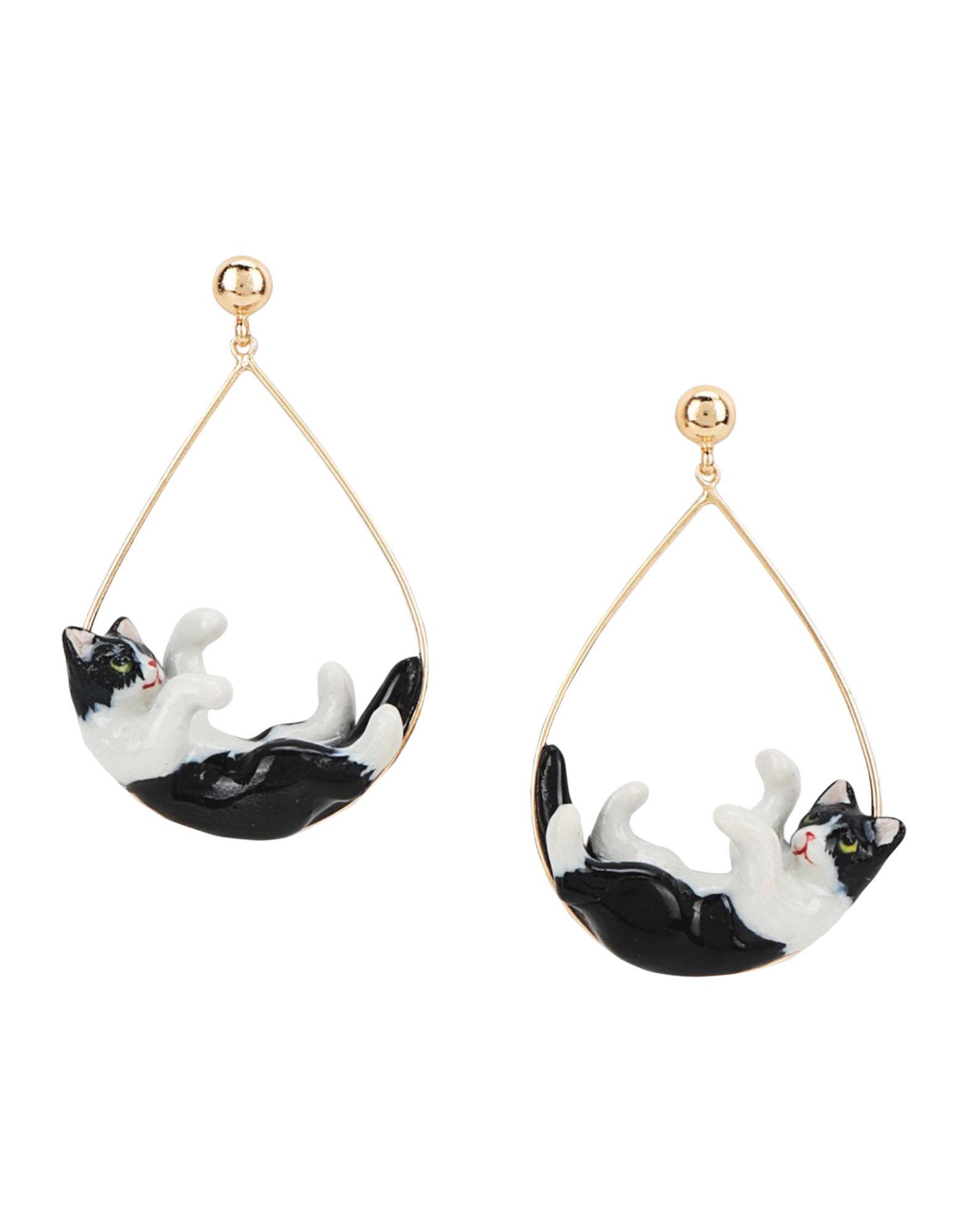 《セール開催中》NACH レディース イヤリング ブラック セラミック 80% / 真鍮/ブラス 20% Black & White Playing Cat hoop earrings