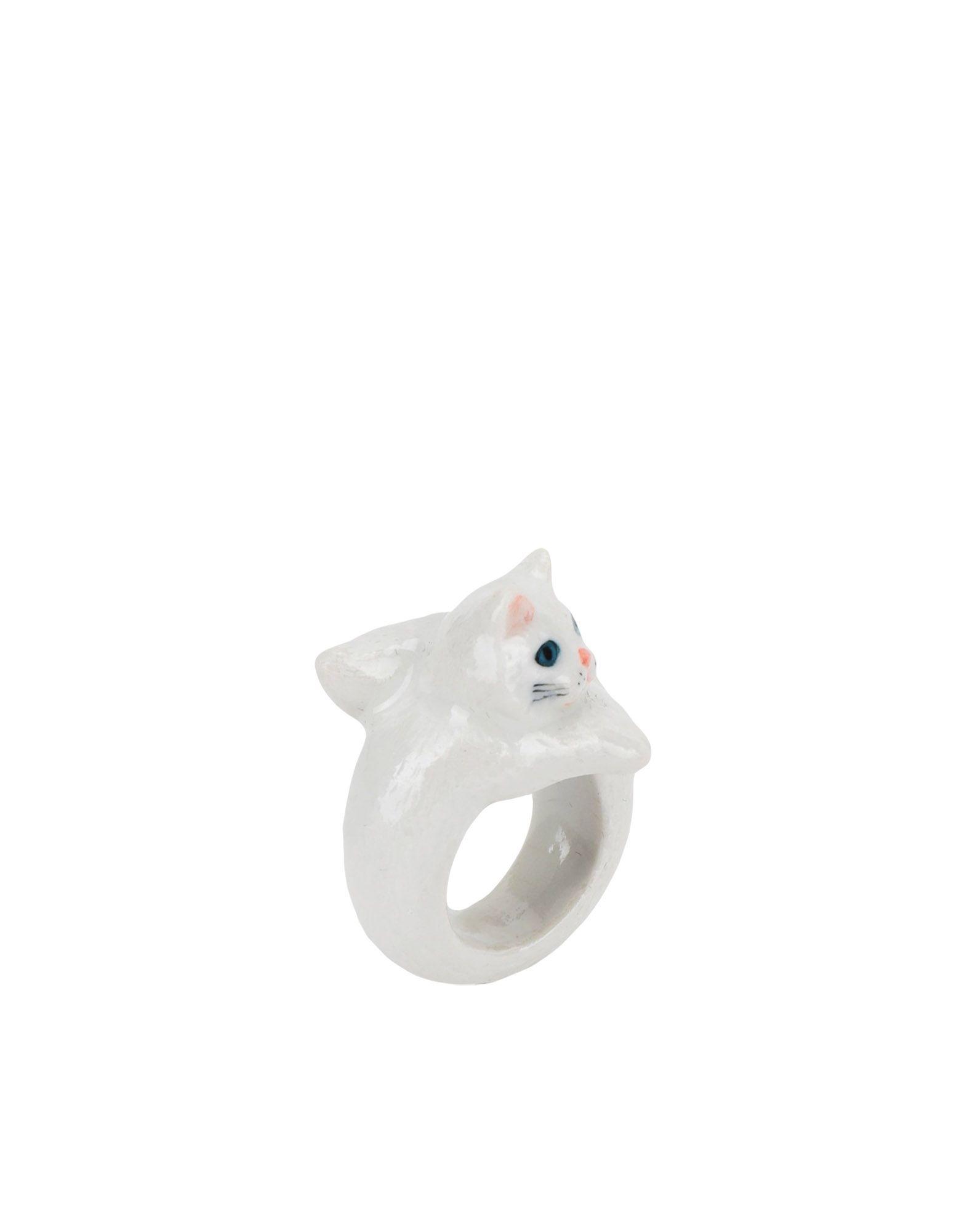 《期間限定 セール開催中》NACH レディース 指輪 ホワイト M セラミック 100% White Persian Cat ring