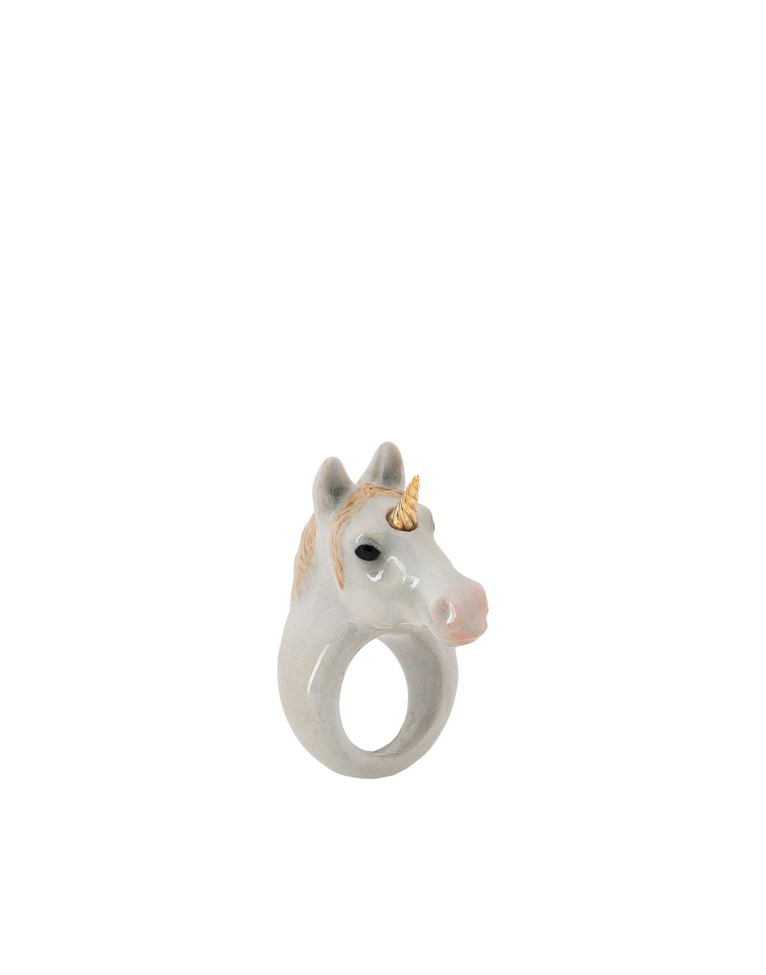 《期間限定 セール開催中》NACH レディース 指輪 ホワイト S セラミック 100% Gold unicorn ring