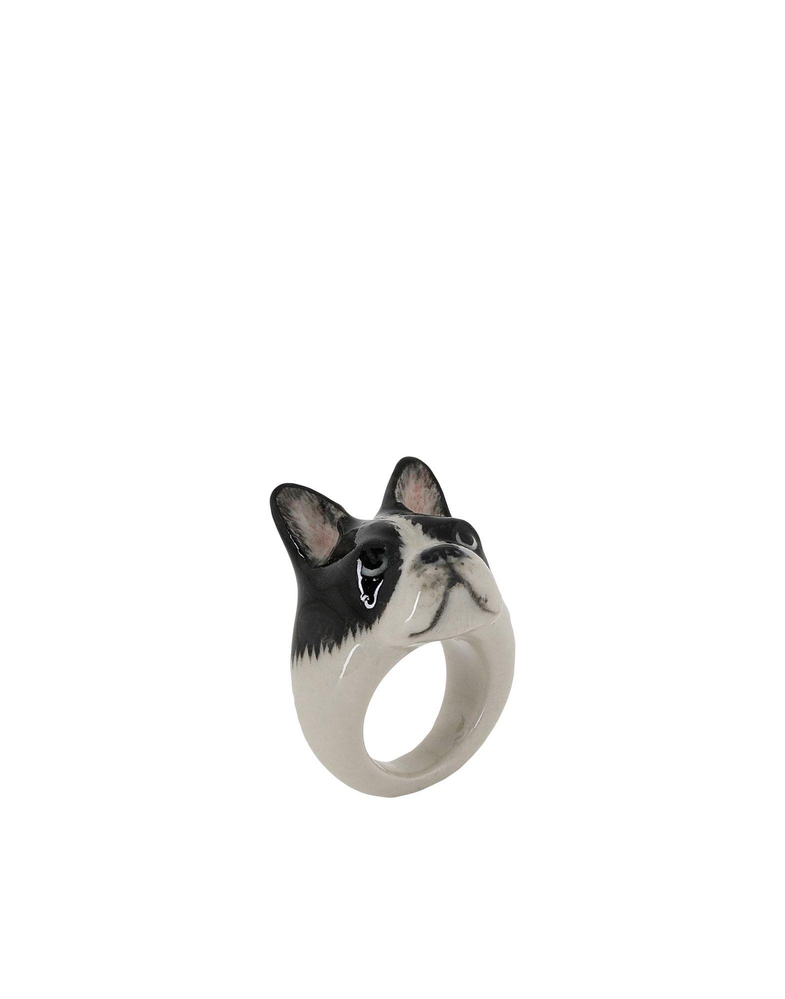 《期間限定 セール開催中》NACH レディース 指輪 ブラック M セラミック 100% Black & White French Bulldog ring