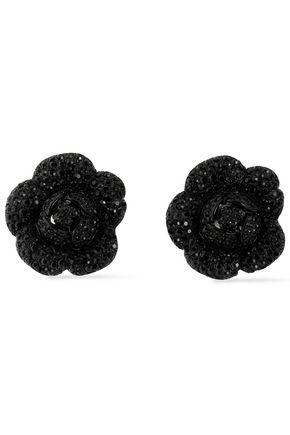 OSCAR DE LA RENTA Enameled silver-tone crystal earrings