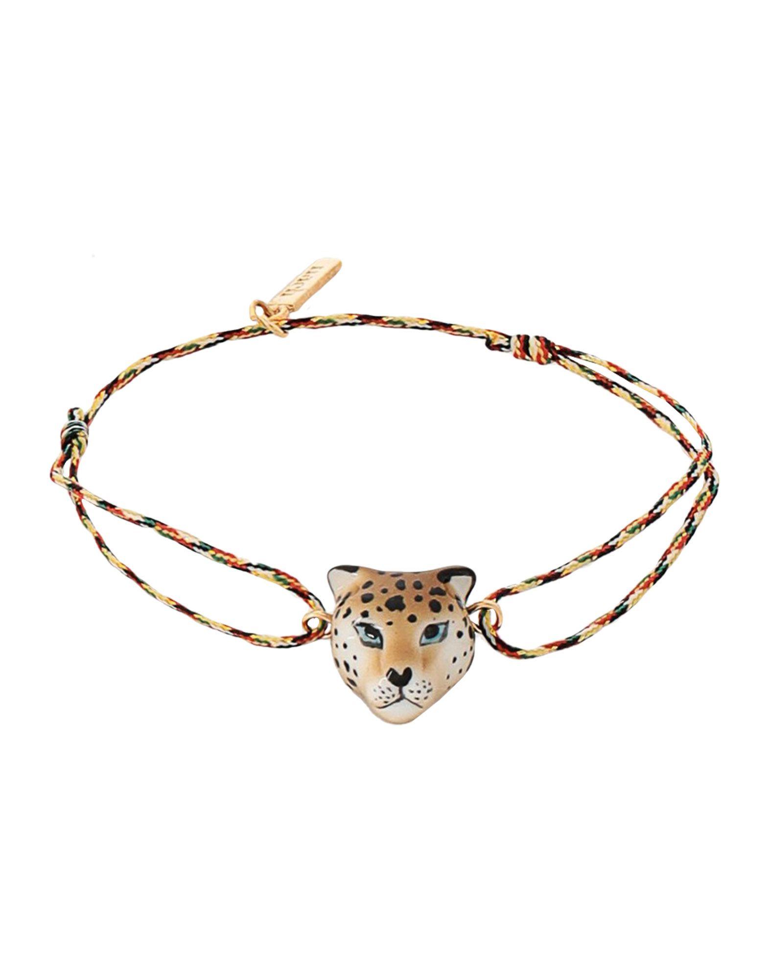 《セール開催中》NACH レディース ブレスレット ベージュ セラミック 80% / ストリング 18% / 真鍮/ブラス 2% Leopard Multicolor charm's BRACELET