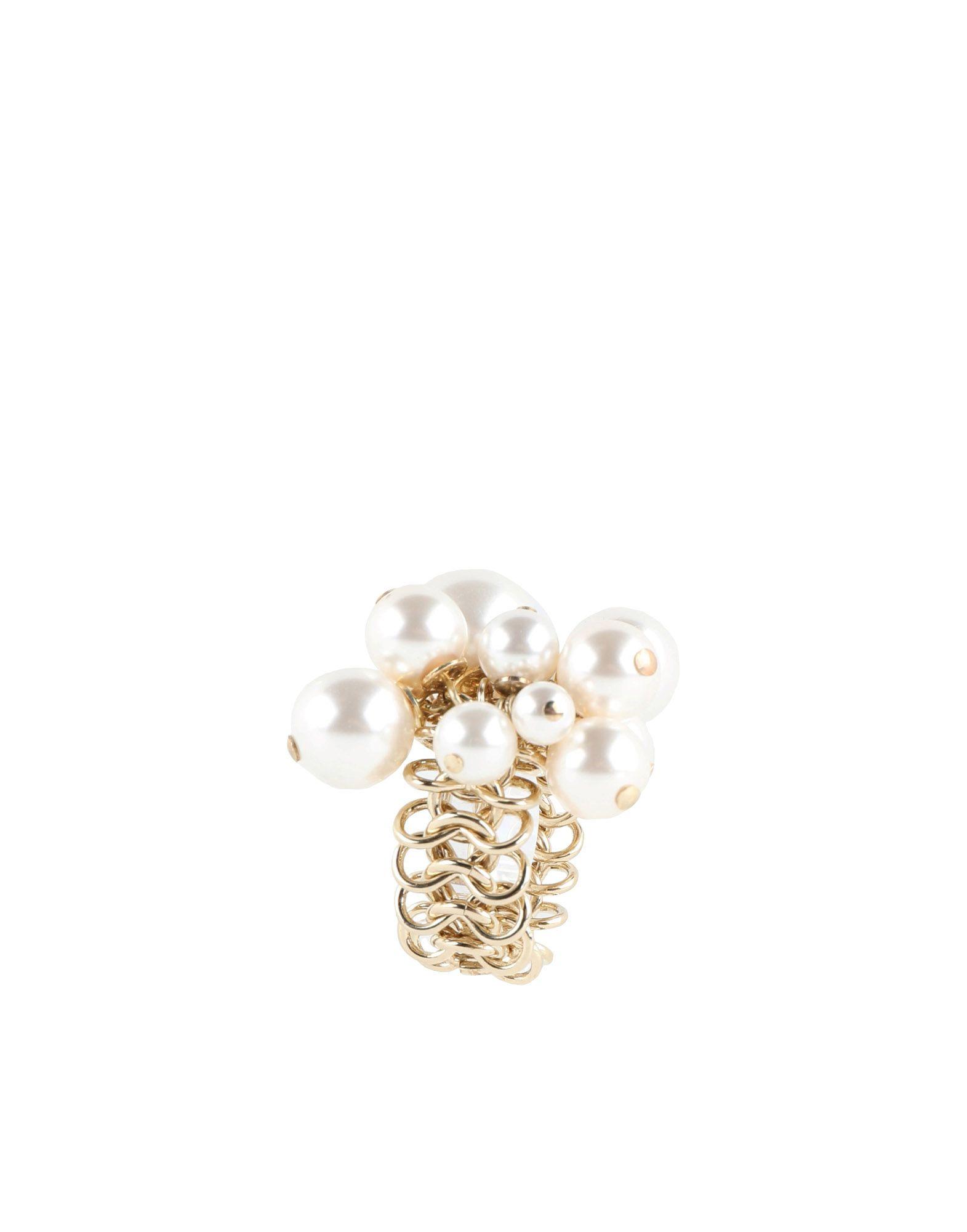 《セール開催中》LANVIN レディース 指輪 ホワイト 53 真鍮/ブラス / ガラス