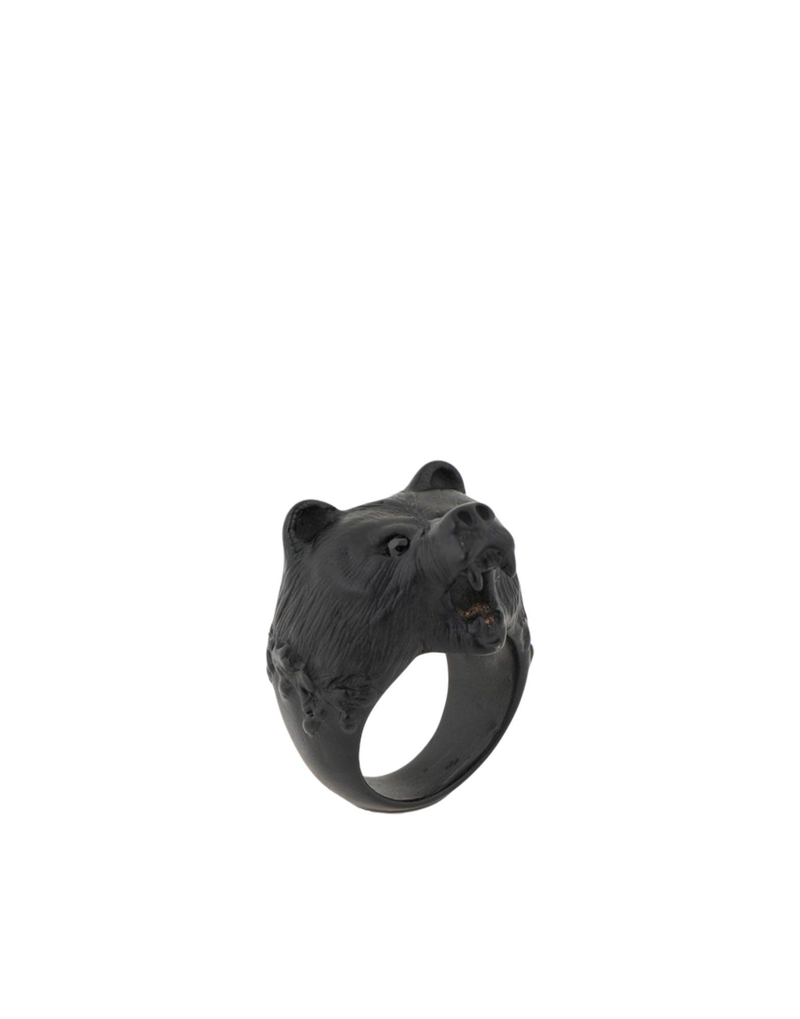 《セール開催中》DSQUARED2 メンズ 指輪 ブラック M 真鍮/ブラス 100%