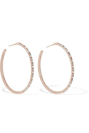 CAROLINA BUCCI 18-karat rose gold, opal and crystal hoop earrings