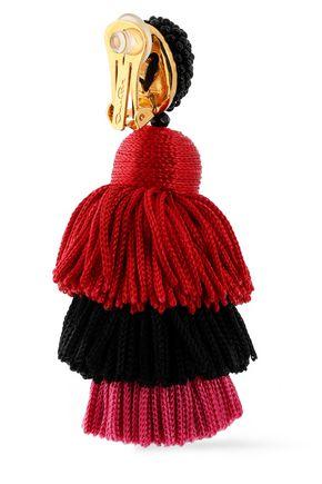 OSCAR DE LA RENTA Gold-tone, bead and tassel earrings