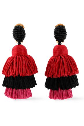 OSCAR DE LA RENTA Gold-tone, bead and tassel earrings