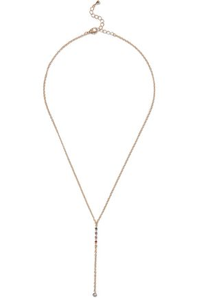 NOIR JEWELRY Rosario 14-karat gold-plated crystal necklace