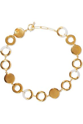 NOIR JEWELRY Steady Glow 14-karat gold-plated resin necklace