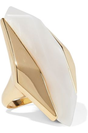 NOIR JEWELRY Light Beam 14-karat gold-plated resin ring