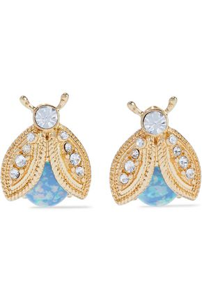KENNETH JAY LANE Gold-tone, stone and crystal clip earrings
