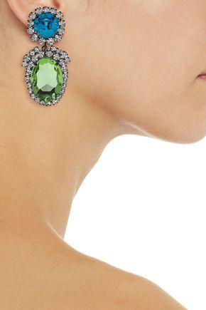 Kenneth Jay Lane Gunmetal Tone Crystal Clip Earrings