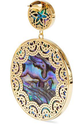 NOIR JEWELRY Tangier 14-karat gold-plated iridescent resin earrings