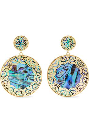 NOIR™JEWELRY Tangier 14-karat gold-plated iridescent resin earrings