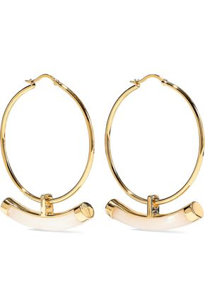 NOIR JEWELRY Crescent 14-karat gold-plated resin hoop earrings