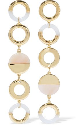NOIR™JEWELRY Steady Glow 14-karat gold-plated resin earrings