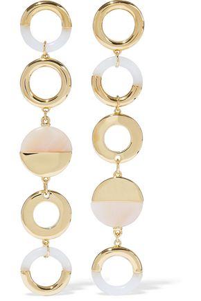 NOIR JEWELRY Steady Glow 14-karat gold-plated resin earrings