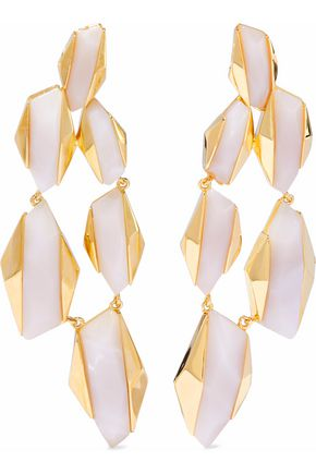 NOIR™JEWELRY 14-karat gold-plated resin earrings