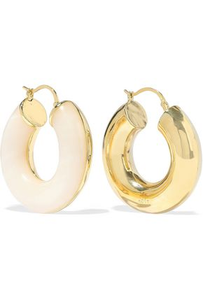 NOIR JEWELRY Arc Beam 14-karat gold-plated resin hoop earrings