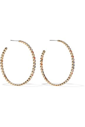 NOIR JEWELRY Baria 14-karat gold-plated crystal hoop earrings