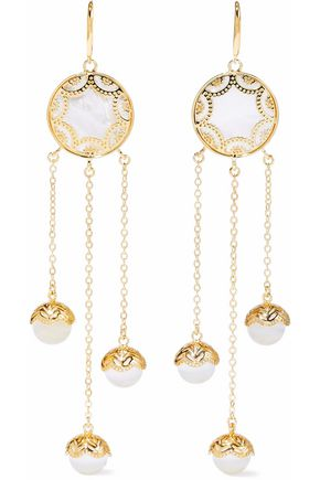 NOIR JEWELRY 14-karat gold-plated faux pearl earrings