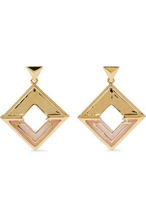 NOIR JEWELRY Hint of Glint 14-karat gold-plated acetate earrings