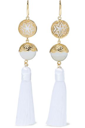 NOIR™JEWELRY Gold-tone, faux pearl and tassel earrings