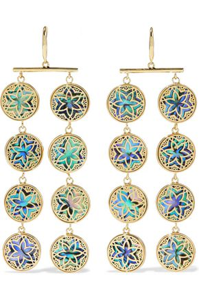 NOIR™JEWELRY 14-karat gold-plated iridescent resin earrings