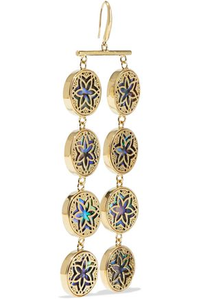 NOIR JEWELRY 14-karat gold-plated iridescent resin earrings