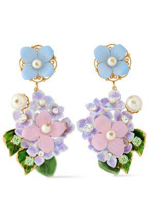 DOLCE & GABBANA Gold-tone floral-appliquéd clip earrings