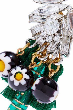 ELIZABETH COLE Gold-tone, tasseled, crystal and bead earrings