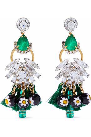 ELIZABETH COLE Gold-tone, tasseled, crystal and bead earrings
