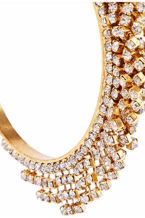 ELIZABETH COLE Raven 24-karat gold-plated Swarovski crystal hoop earrings