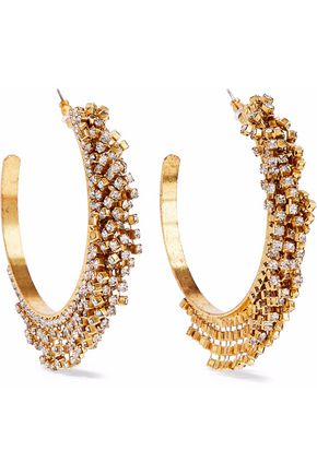 ELIZABETH COLE Raven 24-karat gold-plated Swarovski crystal hoop earrings