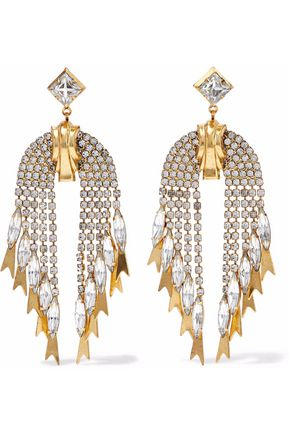 ELIZABETH COLE 24-karat gold-plated crystal earrings